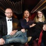 """Comedians Ben Jones, Chad Riden, DJ Buckley and Mary Jay Berger are pictured at East Room in Nashville. Starting Sunday, the """"Broken Record Show"""" will try to break the Guinness world record it set last year."""