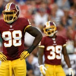 Outside linebacker Brian Orakpo (98), formerly of the Washington Redskins, looks on against the New England Patriots last season. Orakpo signed a free agent contract to play in Tennessee.