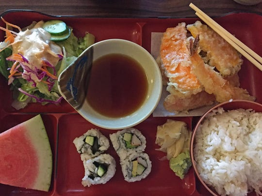 The luncheon box with tempura and California roll