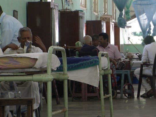 Patients in the hospital band rehearse at the Hendala