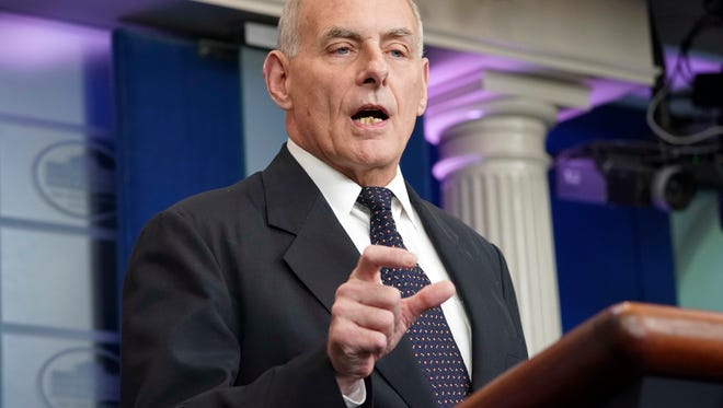 White House Chief of Staff John Kelly speaks to the media Oct. 19, 2017.