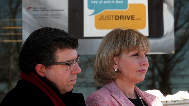 Assemblyman Anthony Bucco and Lt. Gov. Kim Guadagno at the Randolph Motor Vehicle Agency where they talked about distracted driving on Wednesday.