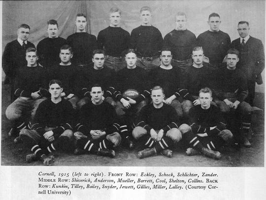 Charley Barrett, center holding football, with his 1915  Cornellians.