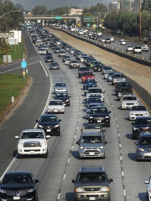 In an almost daily occurrence, northbound traffic on Highway 101 is backed up in Camarillo during a recent afternoon rush hour.
