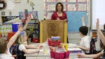 Rebecca Sackrider, a first-grade teacher at St. Elizabeth Ann Seton, goes over a reading lesson earlier this year as part of the rollout of Common Core-based tests.