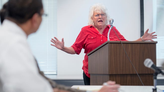 Monterey Shores resident Diane Nelms speaks during a public meeting on Tuesday, October 17, 2017 to discuss controlling red-clay sediment run-off into Indian Bayou in Santa Rosa County.