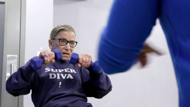 "This image released by Magnolia Pictures shows U.S. Supreme Court justice Ruth Bader Ginsberg in a scene from ""RBG."""