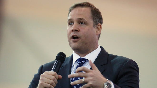 FILE - In this Feb. 28, 2016, file photo, Rep. Jim Bridenstine, R-Tulsa, speaks in Tulsa, Okla. President Donald Trump's choice to head NASA faces a contentious Senate confirmation over his past comments dismissive of global warming as a man-made problem.