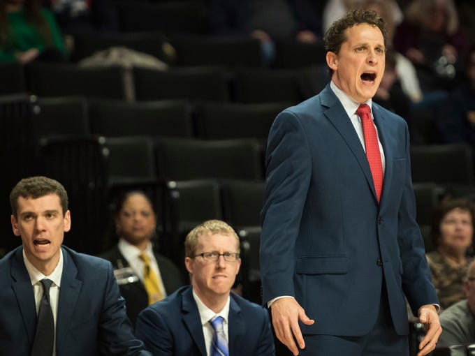 Cornell coach Brian Earl shouts curing the first half of the team's NCAA college basketball game against Wake Forest on Wednesday, Jan. 2, 2019, in Winston-Salem, N.C. (Allison Lee Isley/The Winston-Salem Journal via AP)