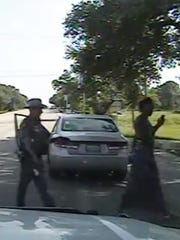 Frame grab from a handout dash camera video released