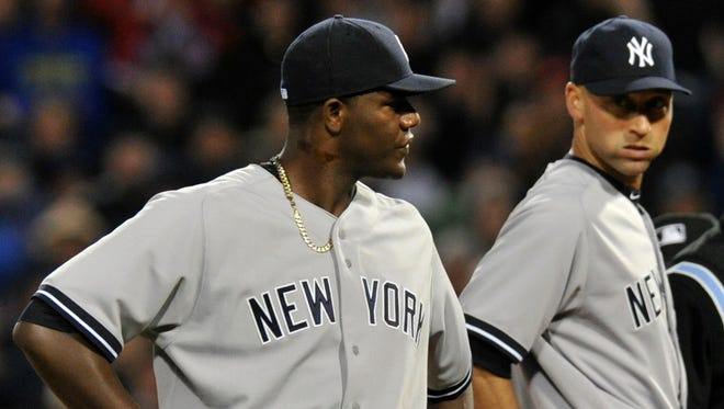 Michael Pineda is ejected from the game for having a foreign substance on his neck during Wednesday's game.
