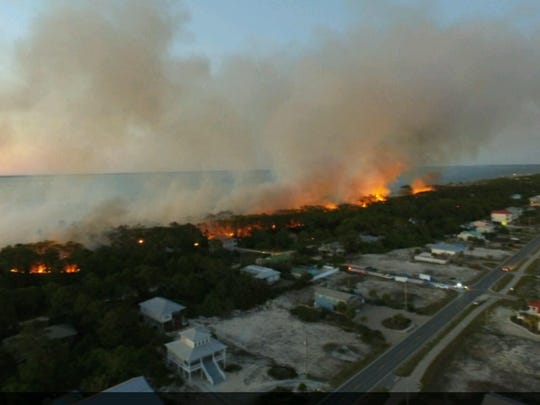 Carson Ulrich captured this bird's eye view of the St. George Island fire.