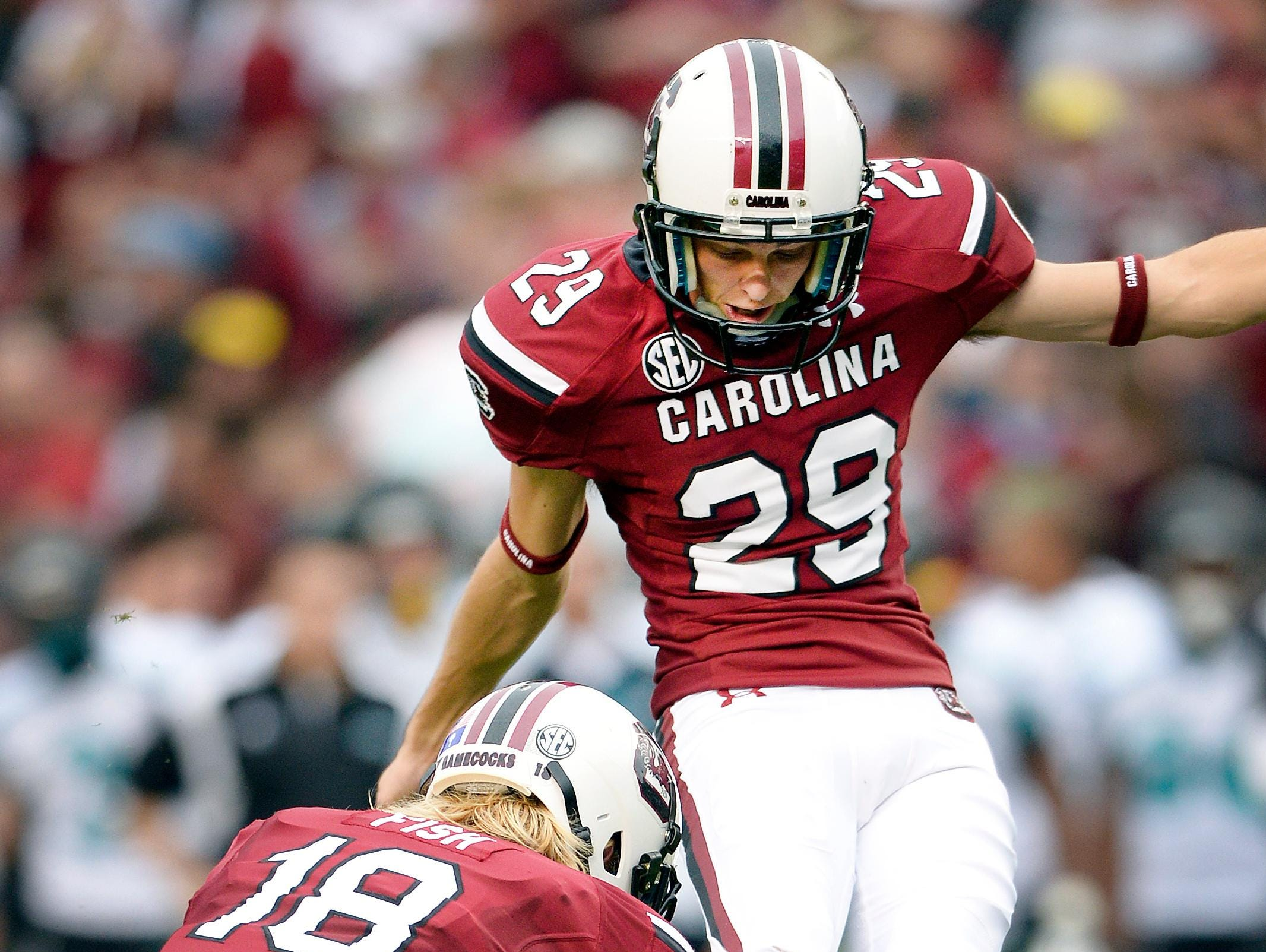 University of South Carolina kicker Elliott Fry (29) hasn't let diabetes prevent him from competing at the highest level of college sports and lets children with the disease know 'they can do anything they want, if they take care of themselves.'