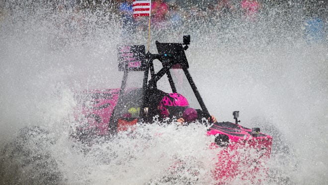Bonnie Walsh, driving Fatal Attraction, races from the starting line during the Swamp Buggy Races on Saturday, March 25, 2017 at Florida Sports Park in East Naples.