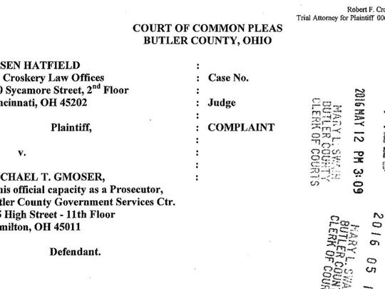 This is a screenshot of the complaint Deputy Jasen Hatfield filed against Butler County Prosecutor Mike Gmoser last year.