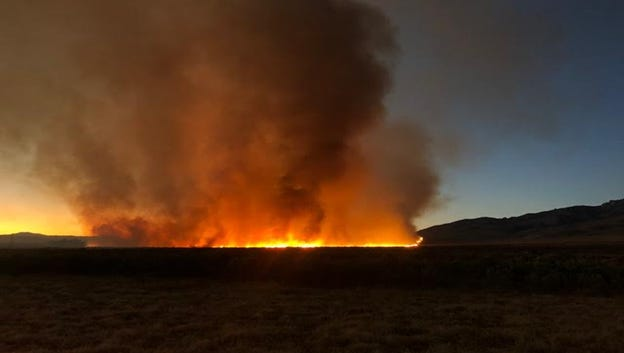 The Rocky Fire burns 20 miles north of Lovelock.