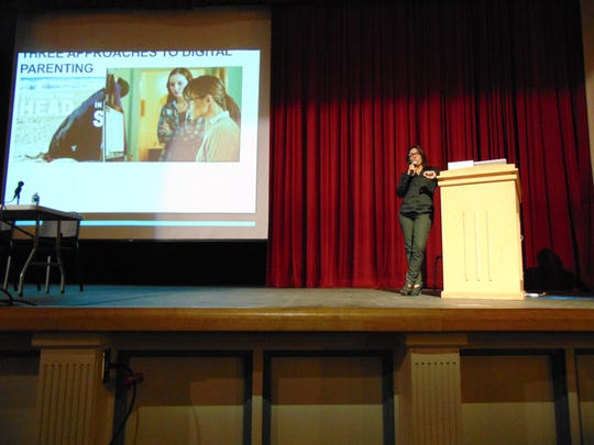Child psychologist Yalda Uhls talks about children and the digital age on Oct. 13 at Morristown High School.