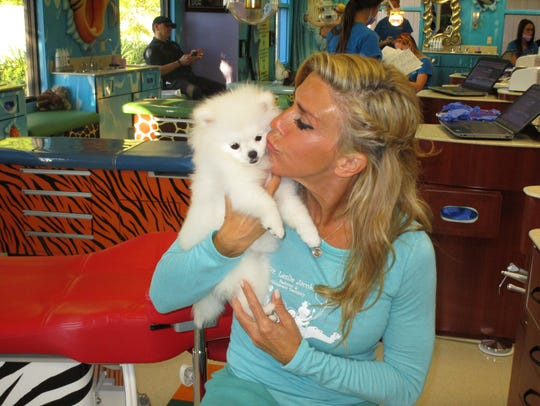 Trinket visits with her mom, Dr. Leslie Jacobs, at