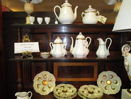 Antique porcelain pieces available at Lafayette Antiques.