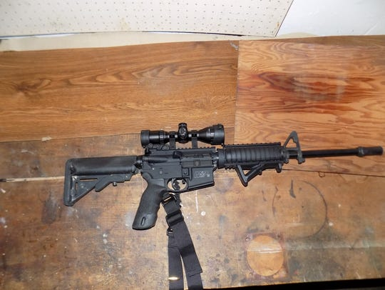One of the weapons seized by Calhoun County Sheriff
