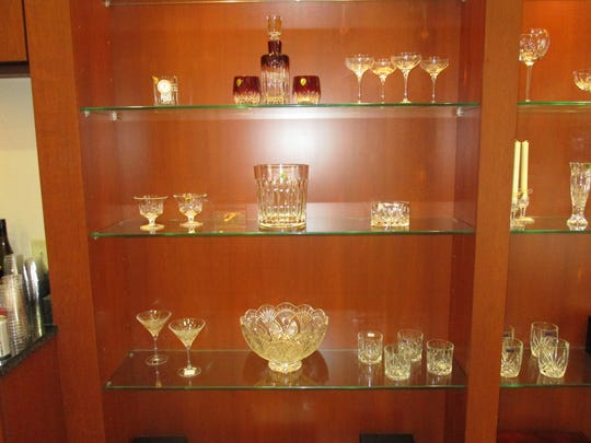 A display of crystal galssware at Lee Michaels new store in Lafayette.