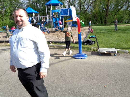 Chuck Hammond at the playground of the Boys and Girls Club of Western Broome in Endicott. Hammond is a longtime volunteer at the club and has been going there since he was a child.