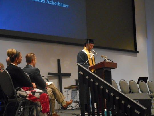 Valedictorian Austin Ackerbauer delivers his remarks