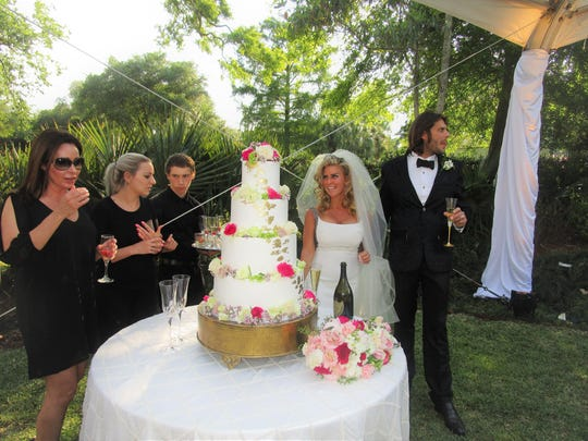 The Wilder-Jacobs wedding took place on April 7 at the home of Leslie Jacobs.