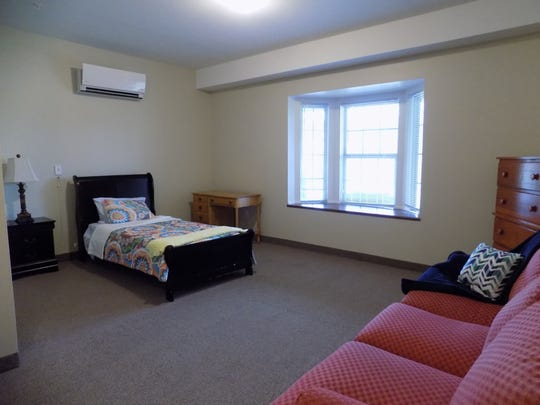 A model bedroom arranged for a couple residing in an