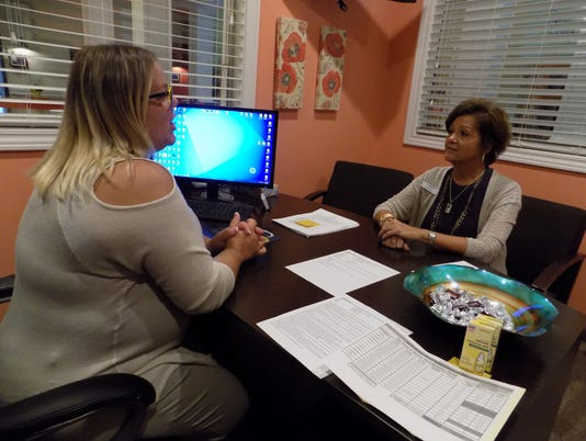 636409061232322683-Chris-Hurley-2c-Business-Development-and-Sales-Supervisor-at-McLaren-Homecare-Group-2c-meets-with-Meggin-Shack-2c-administrator-of-an-assisted-living-facility.JPG