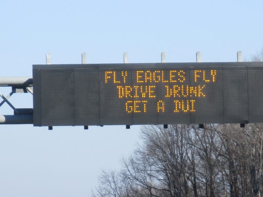 The Delaware Department of Transportation is trying to get motorists' attention with humor, mixing highway safety warnings with excitement over the Eagle's trip to the Super Bowl.