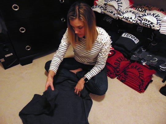 Co-founder Rachael Willis works with MuleKick inventory.