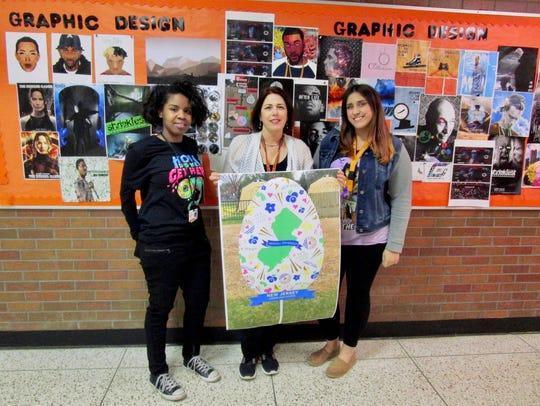From left, Taylor Battle, teacher Debby Heffernan,