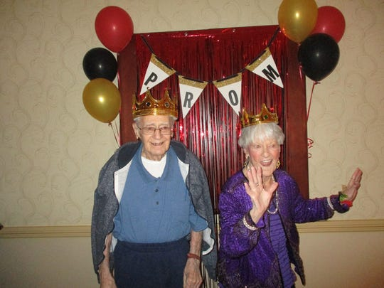 On Tuesday, April 24,residents of Sunrise Senior Living in East Brunswick attended their first Senior Prom.Pictured are the Prom King and Queen winners,Bill Gelfond (left) and Billie Palmer.