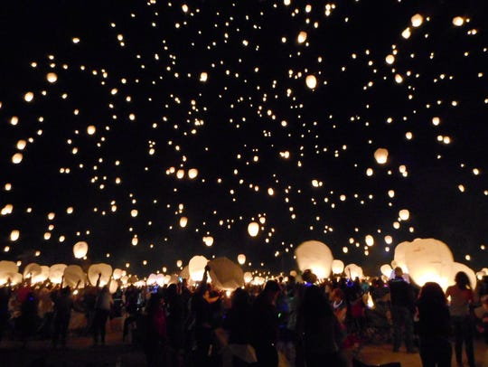 Three thousand lanterns light up the night sky at the