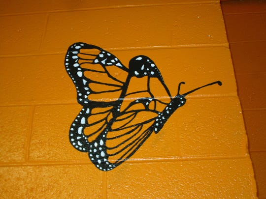 The butterfly painted on the wall of the Linden High School Dance Studio in memory of Amber Duncan-Wilson, a 2012 graduate