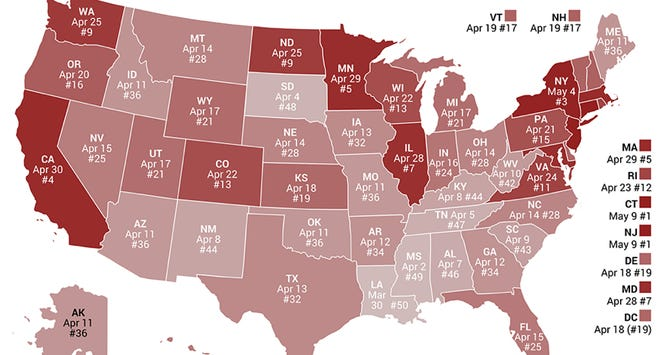 The Tax Foundation's map of 50 states and their Tax Freedom Day dates.