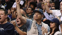 Mar 25, 2017; San Jose, CA, USA; Movie actor Bill Murray cheers during the first half in the finals of the West Regional of the 2017 NCAA Tournament between the Xavier Musketeers and Gonzaga Bulldogs at SAP Center. Mandatory Credit: Kyle Terada-USA TODAY Sports ORG XMIT: USATSI-357259 ORIG FILE ID:  20170325_jla_st3_031.jpg