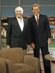 "Johnny Carson made a surprise appearance on ""Late Show"" on May 13, 1994, when he stepped out to give David Letterman the cards with the Top 10 list. It was Carson's first and only talk show appearance after stepping down from ""The Tonight Show"" in 1992."