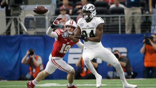 Western Michigan wide receiver Corey Davis caught six passes for 73 yards and a touchdown against Wisconsin in the Cotton Bowl last January.