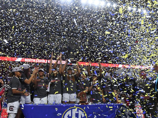 Confetti falls on South Carolina forward A'ja Wilson