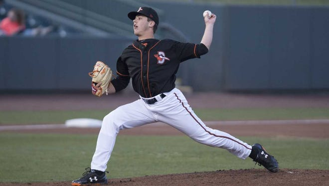 DL Hall pitches during a Delmarva Shorebirds game at Arthur W. Perdue Stadium.