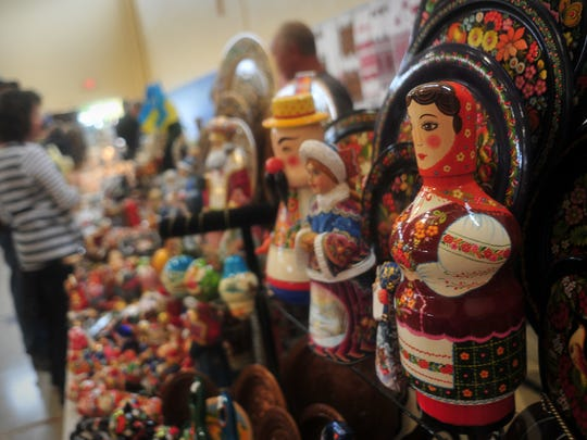 Ukrainian wares were for sale at the festival. Ukrainian American Cultural Center of NJ, holds its 5th annual Festival, Saturday with 2 stage shows featuring Ukrainian dance ensembles, musicians, ethnic foods, and 12,000 pierogies on hand for purchase. Whippany, NJ. Saturday, Oct. 4, 2014.