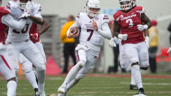 The SEC announced Monday that the Arkansas at Mississippi State Nov. 17  game will start at 11 a.m.  The network will be chosen after this weekend's games. Last year, MSU beat the Hogs 28-21 on Fayetteville with Nick Fitzgerald (7) accounting for 253 yards total offense and three touchdowns.