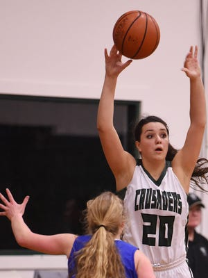 Salem Academy's Alyx Crager and the Crusaders defeat Blanchet 60-41 in a PacWest Conference game on Thursday, Feb. 5, 2015, in Salem.