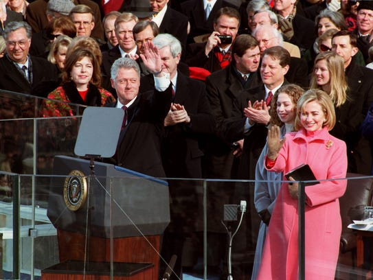President Bill Clinton delivers his inaugural speech