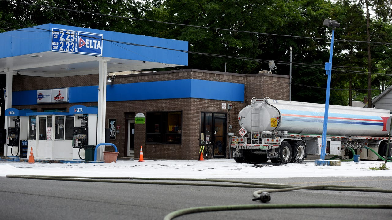 Over 100 gallons of gas spill during while a gas tanker was off loading at the Delta gas station in Maywood on Sunday morning.