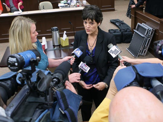 Chrissy Adams, 10th Judicial Circuit Solicitor,  talks to media after James Bartee was given a 10 year, 5 year susupended sentence from Judge Lawton McIntosh after the jury found him guilty in September 2013.