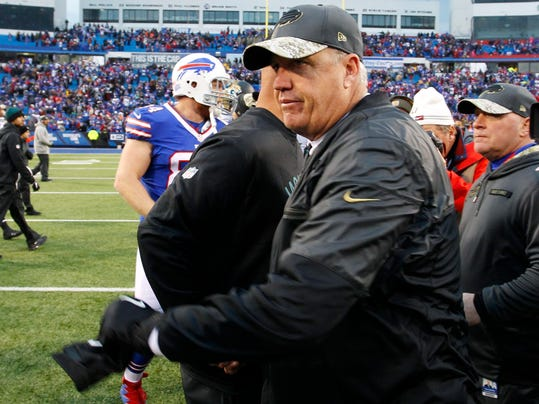 Buffalo Bills head coach Rex Ryan leaves the field after shaking hands with Jacksonville Jaguars head coach Gus Bradley after an NFL football game Sunday, Nov. 27, 2016, in Orchard Park, N.Y. (AP Photo/Bill Wippert)