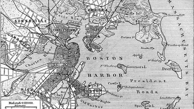 Here is an 1888 map of Boston Harbor showing Castle Island as an island.
